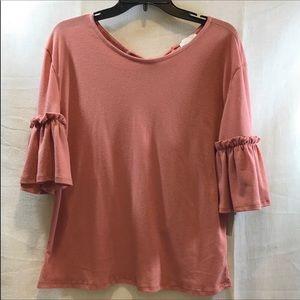 Dusty pink short belle sleeves top sz L